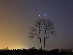 Venus and Jupiter conjunction on 3/15/12 seen from France.  Credit:  Laurent Lavender TWAN